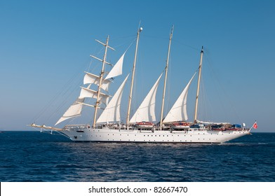 Old Style Clipper Ship in Nearly Full Sails in Aegean Sea