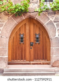 old style door in sandstone church