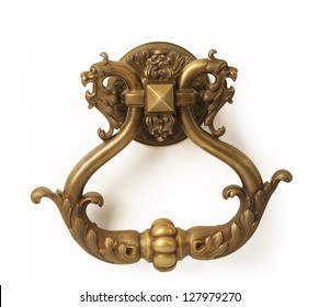 old style dragon's head knocker isolated on white