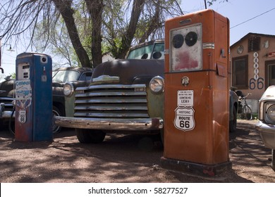 Old style Gas station on the famous route 66 road in USA