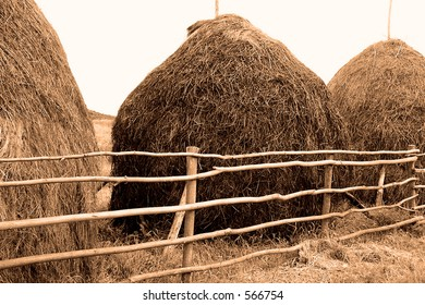 old style hay stacks