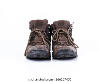 Old style hiking or adventure shoe isolated on white background