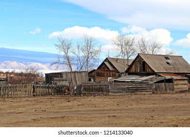 Old style house and barn on Olkhon island in lake Baikal made from wood.