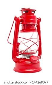 old style lantern on white