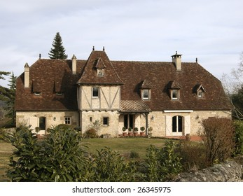 Old style mansion in countryside of Correze in France