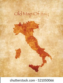 Old Style Map Of Italy Isolated On Parchment Texture. Old Paper Map