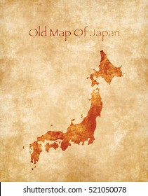 Old Style Map Of Japan Isolated On Parchment Texture. Old Paper Map