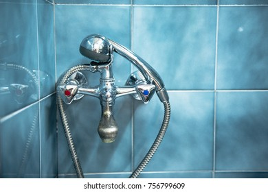 Old style metal material bathroom faucet.
