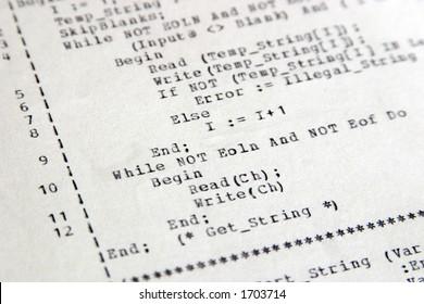 Old style Pascal computer code on a dot matrix printer