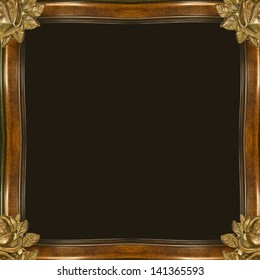 Old style photo frame template in brown tones.