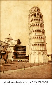 Old style photo of Leaning Tower of Pisa in Italy.