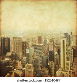 Old style photo of New York City Manhattan skyline.