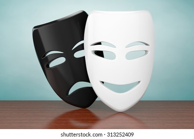 Old Style Photo. Tragicomic Theater Sad and Smile Masks on the table