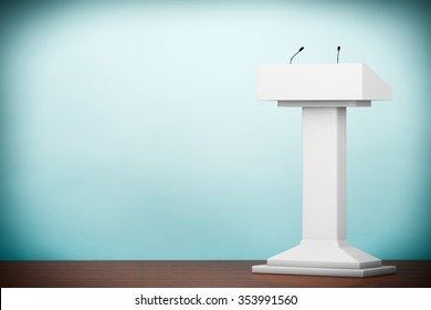 Old Style Photo. White Podium Tribune Rostrum Stand with Microphones on the floor