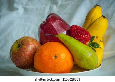 Old style portrait of fruits on the plate