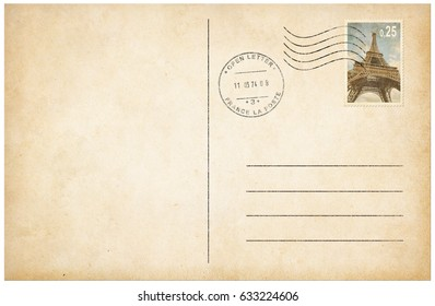 Old style postcard with postage stamp