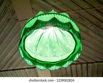Old style retro green lampshade.