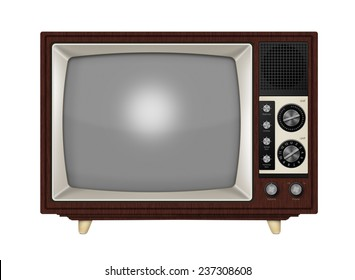 Old style retro tube TV with frequency knobs and wooden style casing. Isolated on a white background with clipping path.