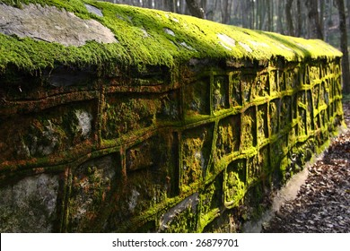 Old style stone mossy wall