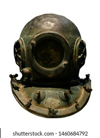 old style underwater diver helmet isolated over white background