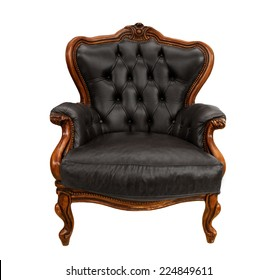 Old styled black vintage armchair isolated on white background
