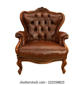 Old styled brown vintage armchair isolated on white background