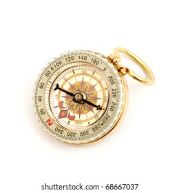 old styled, gold compass on a white background.