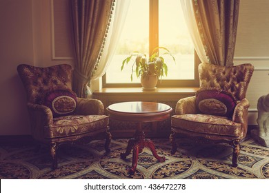 Old Styled Interior. Window.