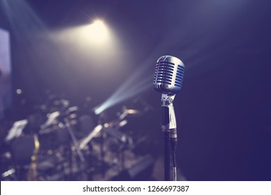 old stylish vintage retro microphone on stage