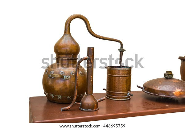 Old Stylized Copper Distiller On White Stock Photo (Edit Now