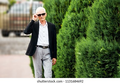 Old succesful bussinesman in jacket and sunglasses walking near green alley