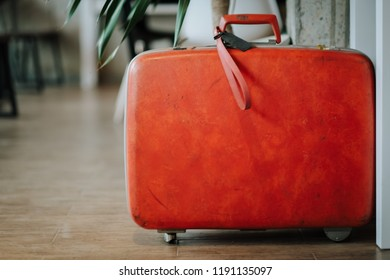 Old suit case, Vintage classic bag, luggage tag, Travel concept