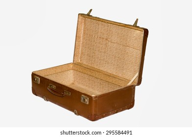 Old suitcase with clipping path, isolated background