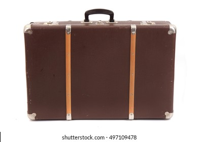 old suitcase isolated on the white background