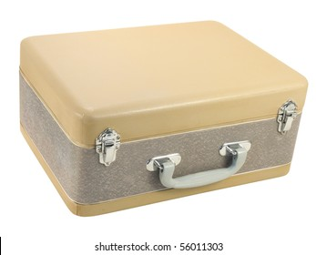 Old suitcase isolated over white background. Clipping path included