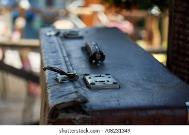 old suitcase on the terrace. macro