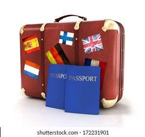 old suitcase with passports and striples flags on white background