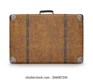 Old suitcase with wear on the surface of the leather and rust on metal. Clipping path included.