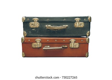 old suitcases over white background