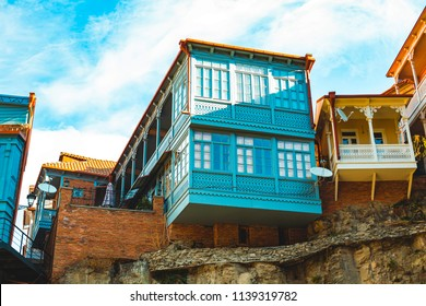 Old sulfur Baths in Abanotubani district with wooden carved balconies in the Old Town of Tbilisi Georgia