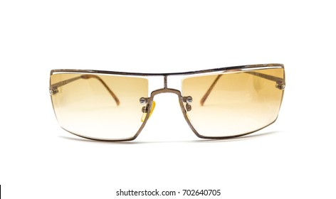 Old sun glasses isolated over the white background
