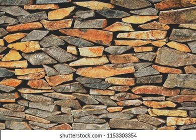 Old sunburnt brick wall built without concrete usage