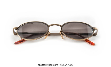 old sunglasses on a white background
