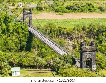 Old suspension bridge near Sainte-Rose in la Reunion Island
