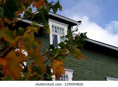 Old Swiss villa in Norway in autumn