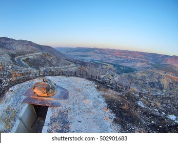 Old Syrian fortifications and the view of Syria and Jordan from the Golan Heights