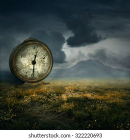 Old table clock in fantasy atmosphere