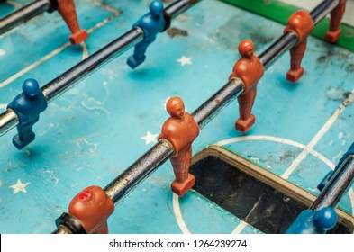 Old table football game, close up