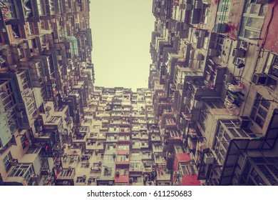 Old tall and dense residential building in Hong Kong, Vintage style