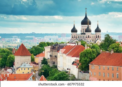 Old Tallinn, Estonia. View to Orthodox church Alexander Nevsky from Oleviste church in summer